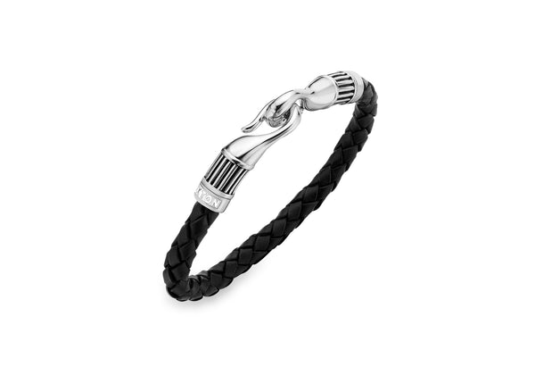 Hoxton London Men's Sterling Silver Bold Leather and Silver Ribbed Hook Bracelet