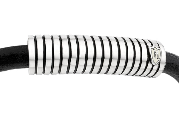 Hoxton London Men's Sterling Silver Stripe Leather Silver Magnetic  Bracelet