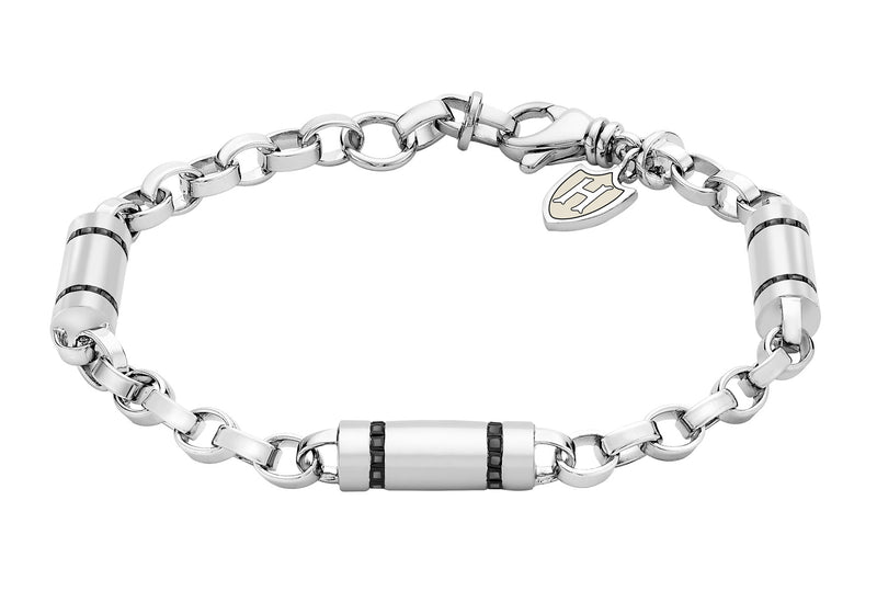 Hoxton London Men's Sterling Silver Stone Black Zirconia  ylindrial Link Bracelet