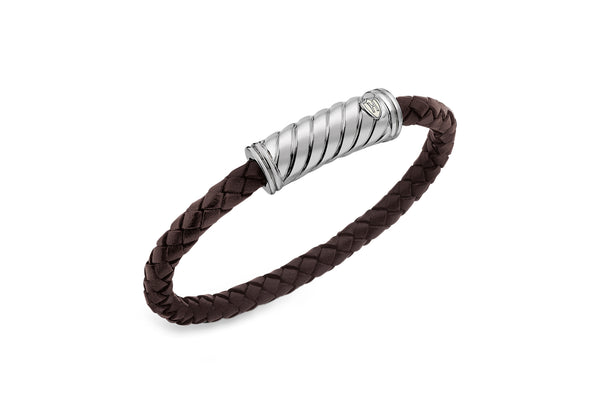 Hoxton London Men's Sterling Silver Twist Plaited Leather Silver Magnetic  Bracelet