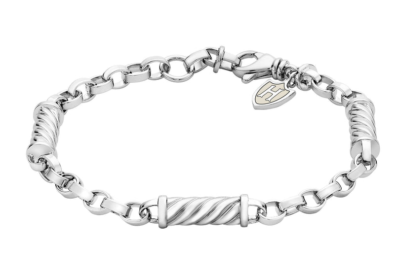 Hoxton London Men's Sterling Silver Twist ylindrial Link Adjustable Bracelet
