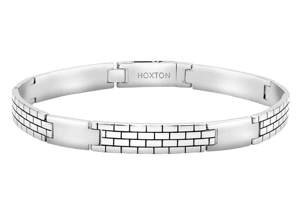 Hoxton London Men's Sterling Silver Brick Pattern Bar Bracelet
