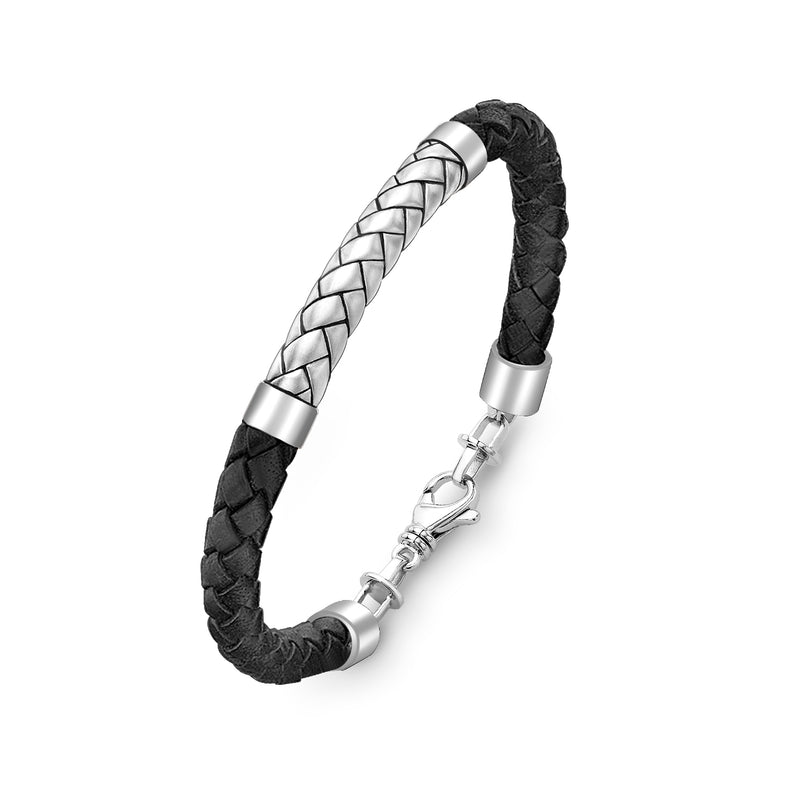 Hoxton London Men's Sterling Silver Herringbone Black Leather Bracelet