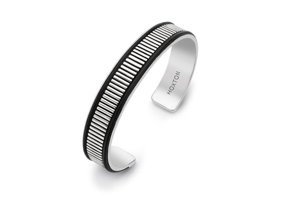 Hoxton London Men's Sterling Silver Bold Leather Ribbed Cuff Bangle