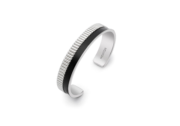 Hoxton London Men's Sterling Silver Bold Leather Inlay Cuff Bangle