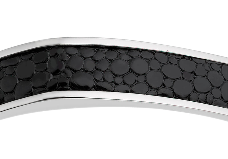 Hoxton London Men's Sterling Silver Black Printed Leather Inlay uff Bangle