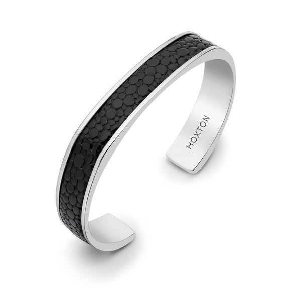 Hoxton London Men's Sterling Silver Black Printed Leather Inlay Cuff Bangle