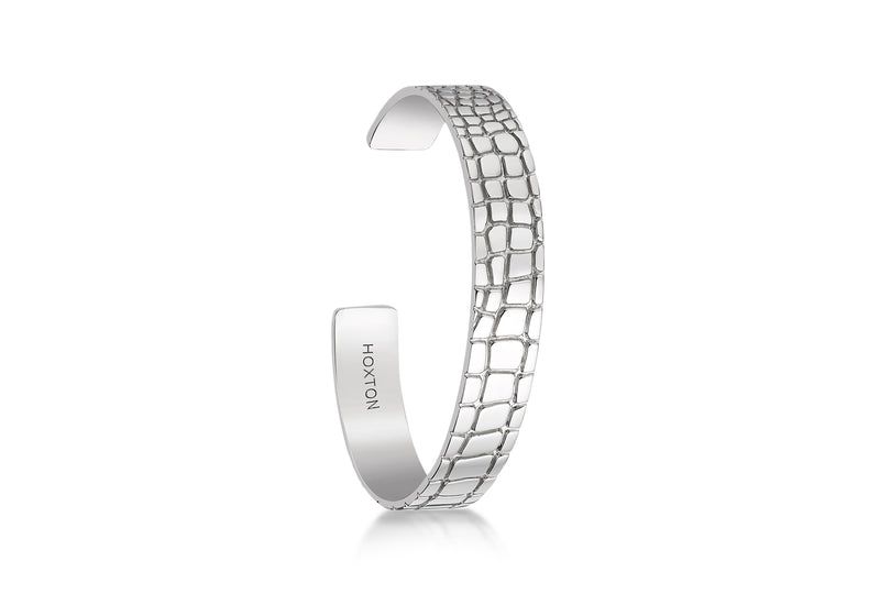 Hoxton London Men's Sterling Silver Wild roodile Pattern uff Bangle