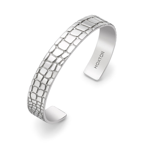 Hoxton London Men's Sterling Silver Wild Crocodile Pattern Cuff Bangle