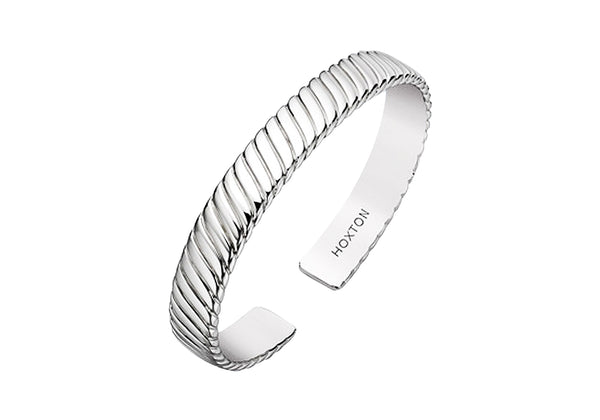 Hoxton London Men's Sterling Silver Twist Bangle