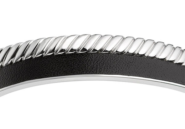 Hoxton London Men's Sterling Silver Twist Leather Inlay uff Bangle
