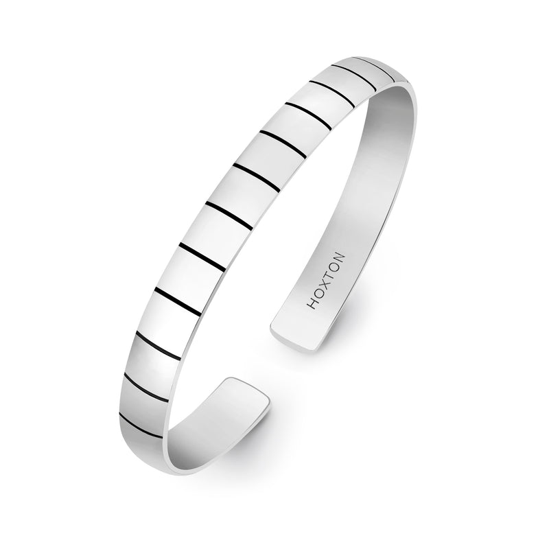 Hoxton London Men's Sterling Silver Brick High Polish Ribbed Bangle