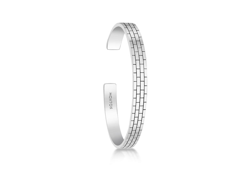 Hoxton London Men's Sterling Silver Brick Pattern Bangle