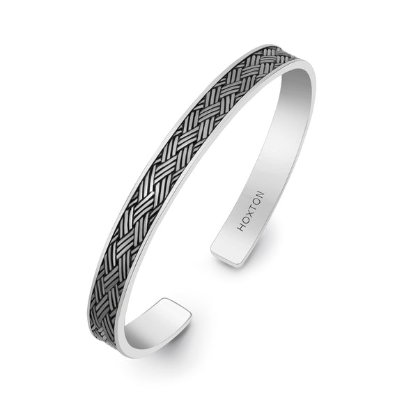 Hoxton London Men's Sterling Silver Bamboo Woven Pattern Oxidised  Bangle
