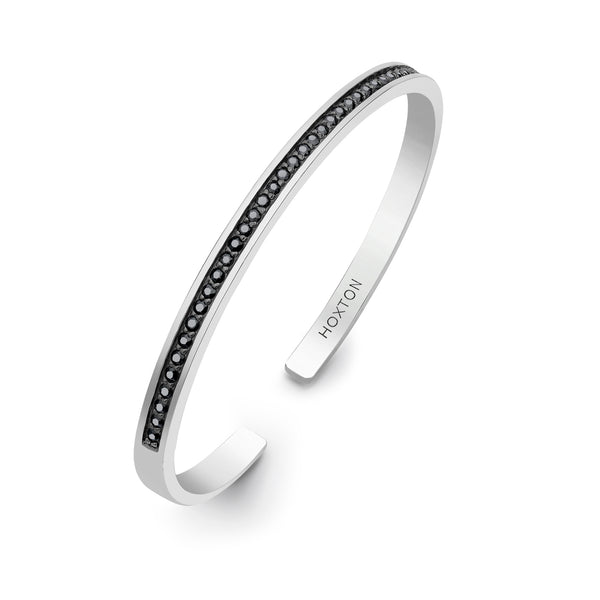 Hoxton London Men's Sterling Silver Black Sapphire Set Bangle