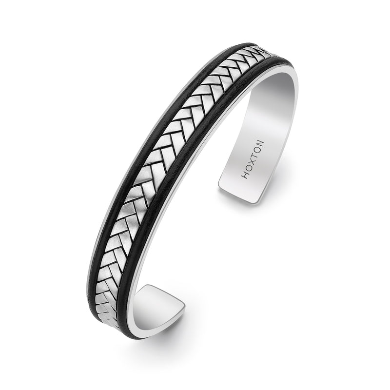 Hoxton London Men's Sterling Silver Herringbone Leather Inlay uff Bangle