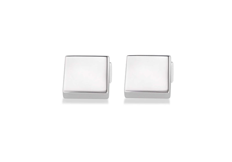 Hoxton London Men's Sterling Silver Plain Square Cufflinks
