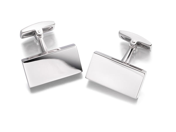 Hoxton London Men's Sterling Silver Rectangular Plain Cufflinks