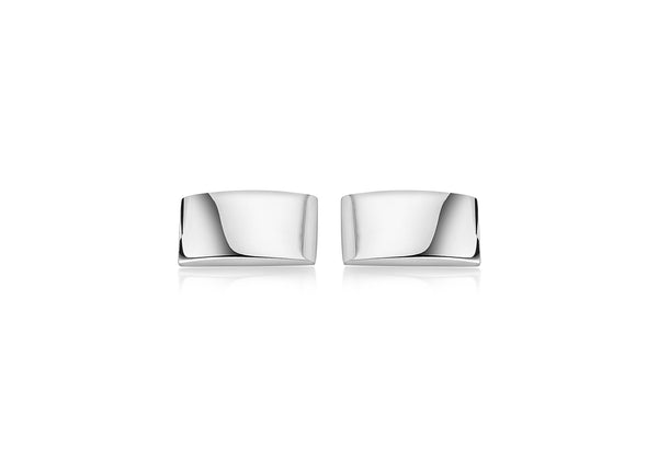Hoxton London Men's Sterling Silver Rectangular Plain Domed Cufflinks