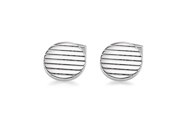Hoxton London Men's Sterling Silver Round Ribbed Cufflinks
