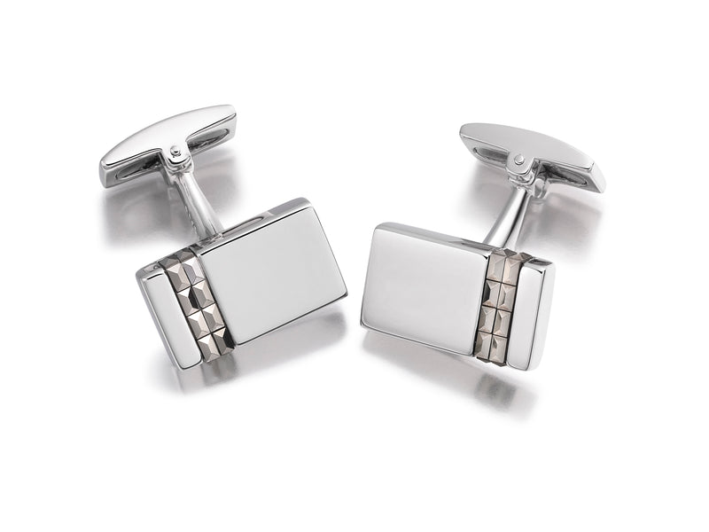 Hoxton London Men's Sterling Silver Vertial Marasite Set Retangle Cufflinks