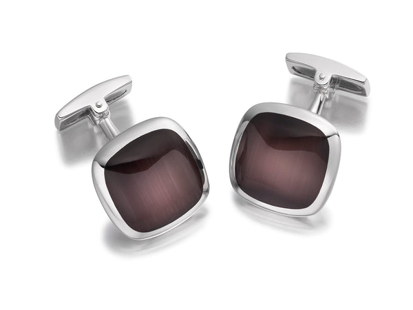 Hoxton London Men's Sterling Silver Brown Cats Eye Square Cushion Cufflinks