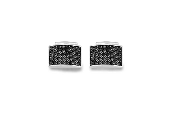 Hoxton London' Men's Sterling Silver Black Zirconia  urve Retangle Cufflinks