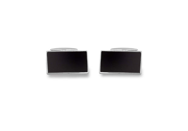 Hoxton London Men's Sterling Silver Ebony Wood Retangle Cufflinks