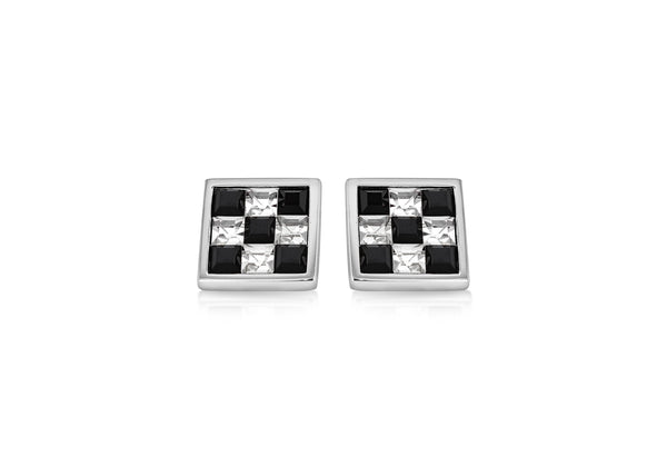 Hoxton London Men's Sterling Silver Black and White Crystal hequerboard Square Cufflinks
