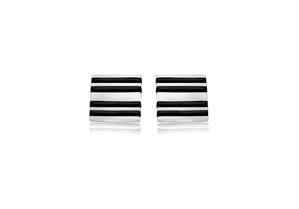 Hoxton London Men's Sterling Silver Black Enamel Stripe Square Cufflinks