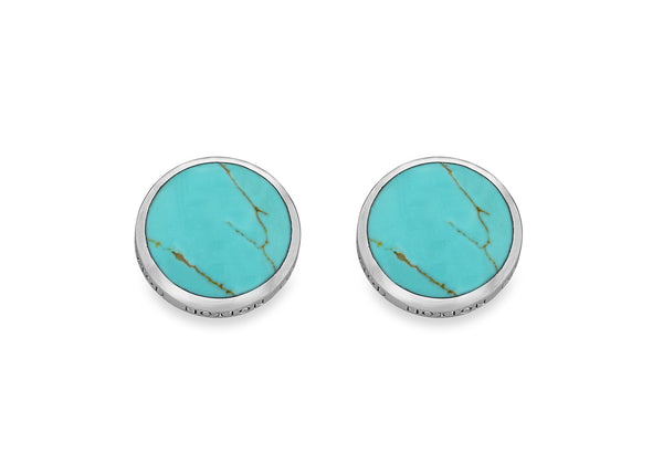 Hoxton London Men's Sterling Silver and Turquoise Round Cufflinks