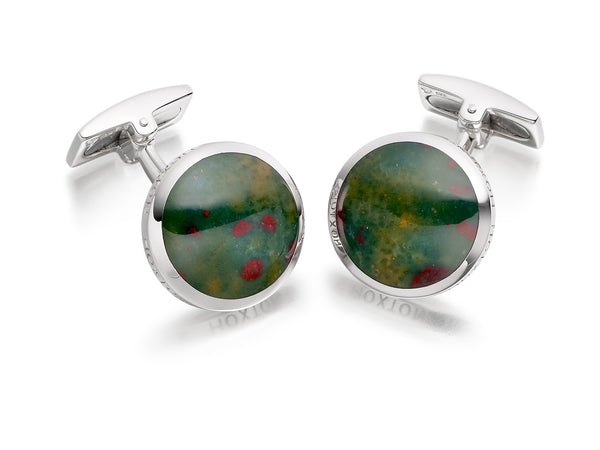 Hoxton London Men's Sterling Silver and Jade Round Cufflinks