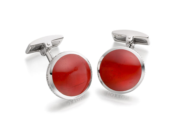 Hoxton London Men's Sterling Silver and Jasper Round Cufflinks