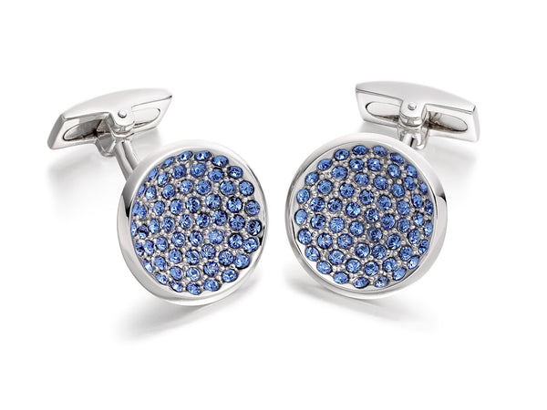 Hoxton London Men's Sterling Silver and Dark Blue Zirconia  Round Cufflinks