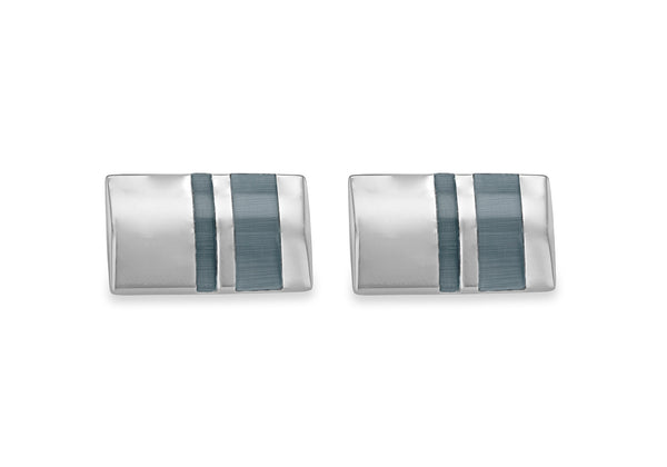 Hoxton London Men's Sterling Silver and Grey Cats Eye Stripe Retangle Cufflinks