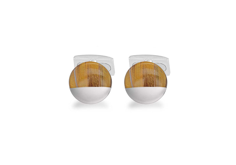 Hoxton London' Men's Sterling Silver and Tigers Eye irular Cufflinks