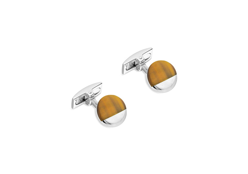 Hoxton London' Men's Sterling Silver and Tigers Eye Circular Cufflinks