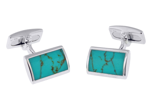 Hoxton London Men's Sterling Silver and Turquoise Retangle Cufflinks