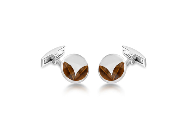Hoxton London Men's Sterling Silver and Tigers Eye Round Cufflinks