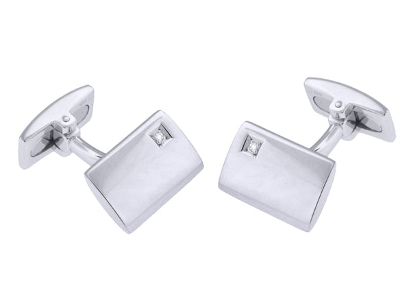 Hoxton London Men's Sterling Silver and Diamond Retangle Cufflinks