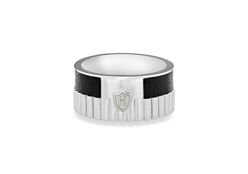Hoxton London Men's Sterling Silver Bold Leather Inlay Ribbed Ring