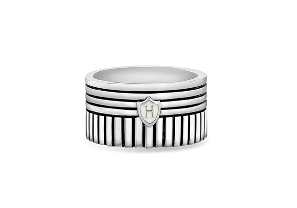 Hoxton London Men's Sterling Silver Stripe 2 Way Striped Band Ring