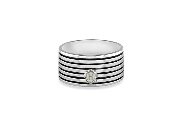 Hoxton London Men's Sterling Silver Stripe Horizontal Striped Ring