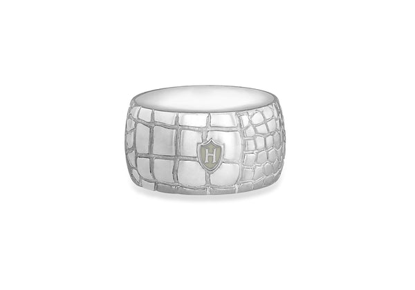Hoxton London Men's Sterling Silver 'Wild' roodile Patterned Ring