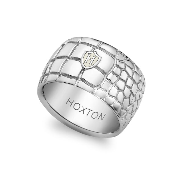 Hoxton London Men's Sterling Silver 'Wild' Crocodile Patterned Ring