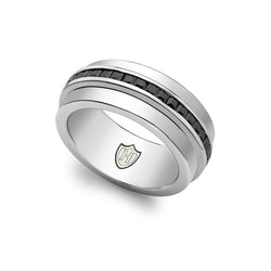 Hoxton London Men's Sterling Silver Stone Black Zirconia  Spinning Ring
