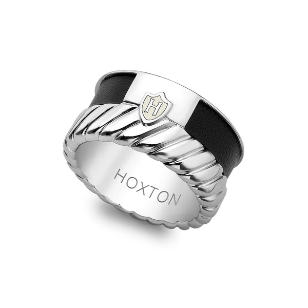 Hoxton London Men's Sterling Silver Twist Leather Inlay Ring
