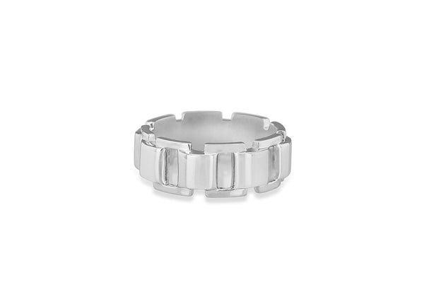 Hoxton London Men's Sterling Silver Brick High Polished Open Square Link Ring