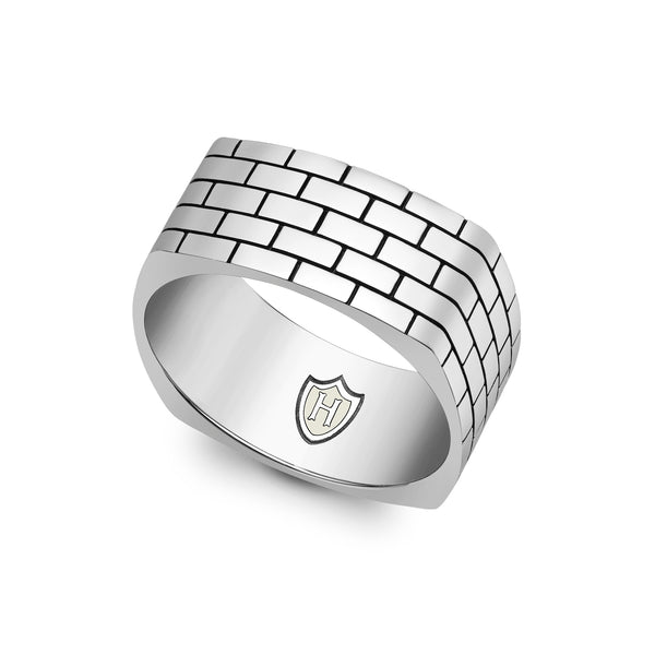 Hoxton London Men's Sterling Silver Brick Patterned Square Ring