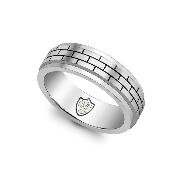 Hoxton London Men's Sterling Silver Brick Patterned Spinning Ring